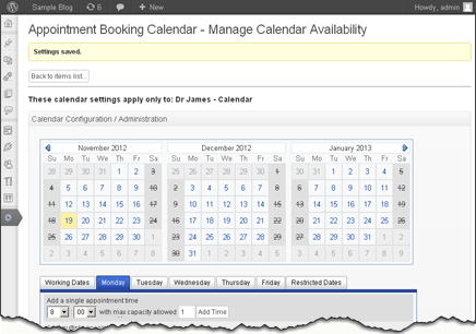 full calendar settings