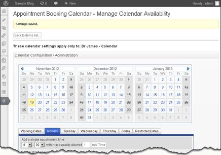 full calendar settings