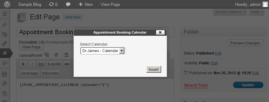 inserting booking calendar