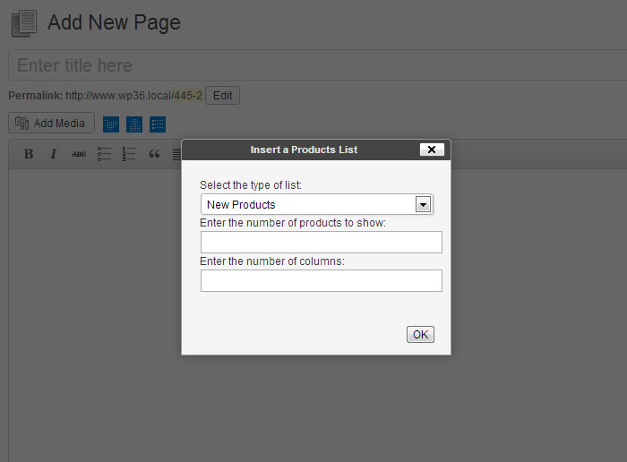 Dialog for images list insertion